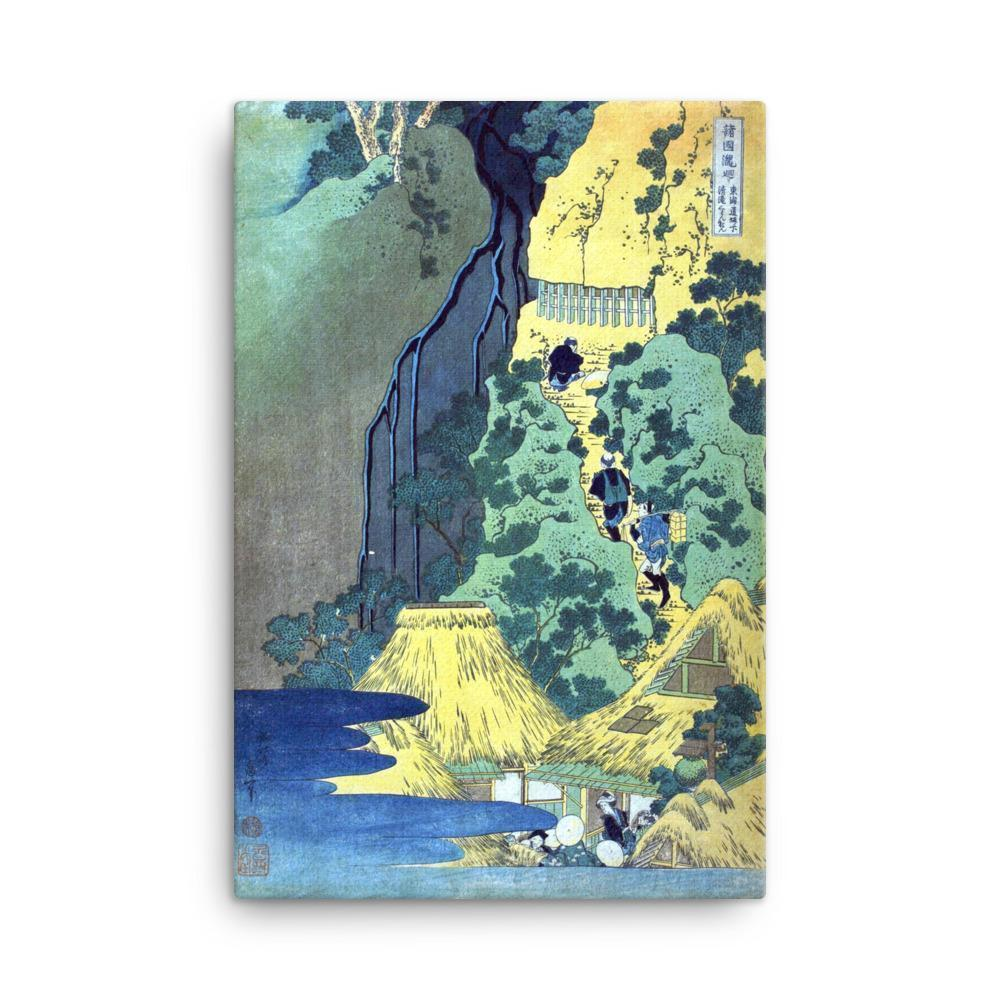 "Kiyotaki Kannon Waterfall at Sakanoshita on the Tōkaidō-Hokusai-Wall Art-24""x36""-Canvas-Rising Sun Prints"