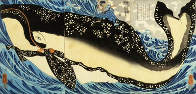 Miyamoto Musashi and the Whale off the Coast of Higo (1848)-Kuniyoshi-Wall Art-Rising Sun Prints