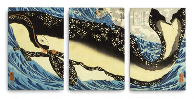 "Miyamoto Musashi and the Whale off the Coast of Higo (1848)-Kuniyoshi-Wall Art-12""x18""-Canvas-Rising Sun Prints"