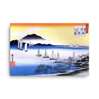 "Returning Sails at Yabase-Hiroshige-Wall Art-24""x36""-Canvas-Rising Sun Prints"