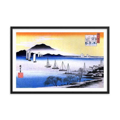 "Returning Sails at Yabase-Hiroshige-Wall Art-24""x36""-Framed Print-Rising Sun Prints"