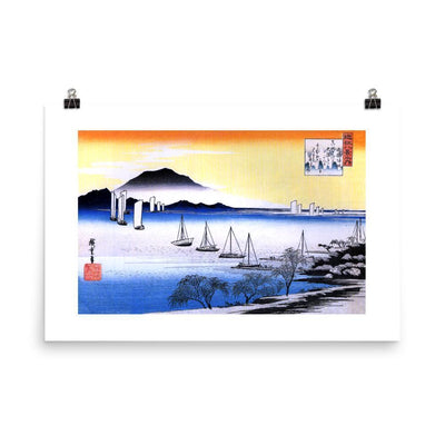 "Returning Sails at Yabase-Hiroshige-Wall Art-24""x36""-Premium Giclee Print-Rising Sun Prints"