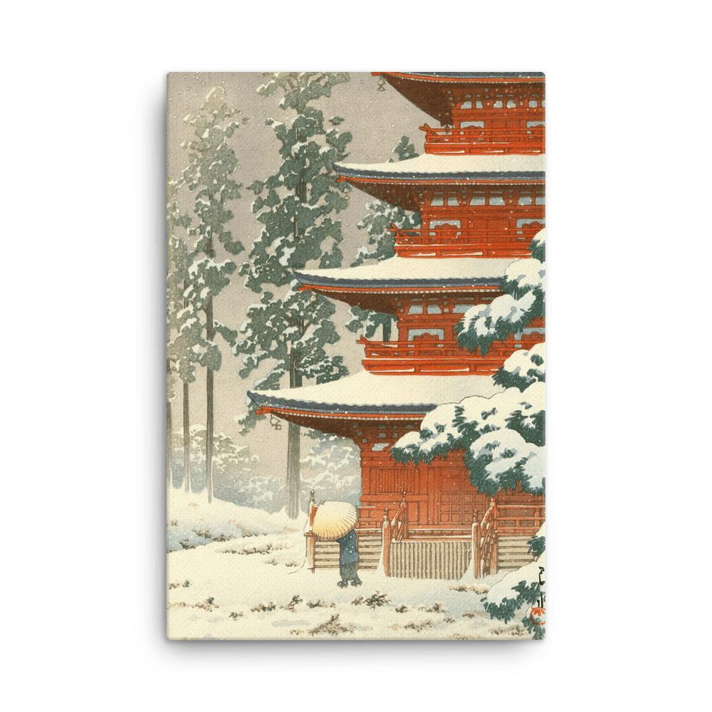 "Saishoin Temple in Snow, Hirosaki-Kawase Hasui-Wall Art-12""x18""-Canvas-Rising Sun Prints"
