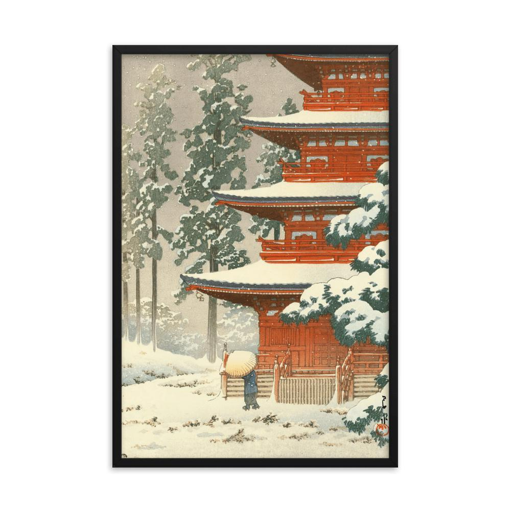 CULTURAL LANDSCAPE JAPAN TEMPLE KAWASE HASUI SNOW WINTER Cultural Canvas art