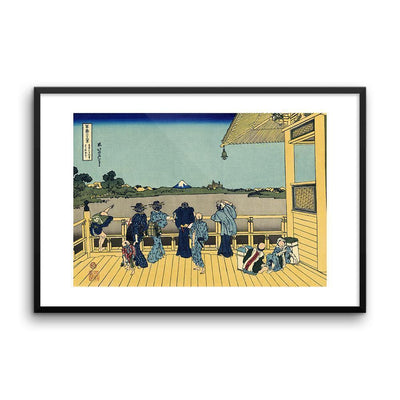 "Sazai Hall - Temple Of Five Hundred Rakan-Hokusai-Wall Art-24""x36""-Framed Print-Rising Sun Prints"