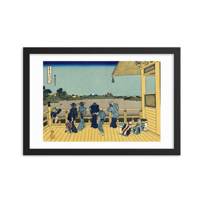 "Sazai Hall - Temple Of Five Hundred Rakan-Hokusai-Wall Art-12""x18""-Framed Print-Rising Sun Prints"