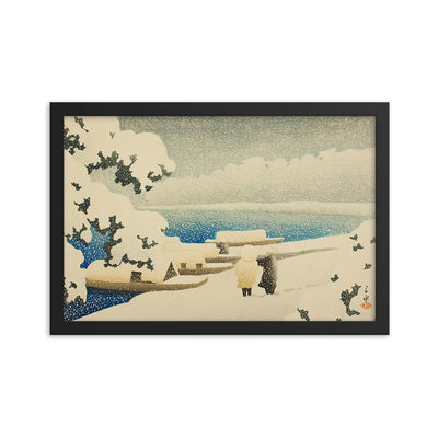 "Snow at Amanohashidate (1921)-Kawase Hasui-Wall Art-12""x18""-Framed Print-Rising Sun Prints"