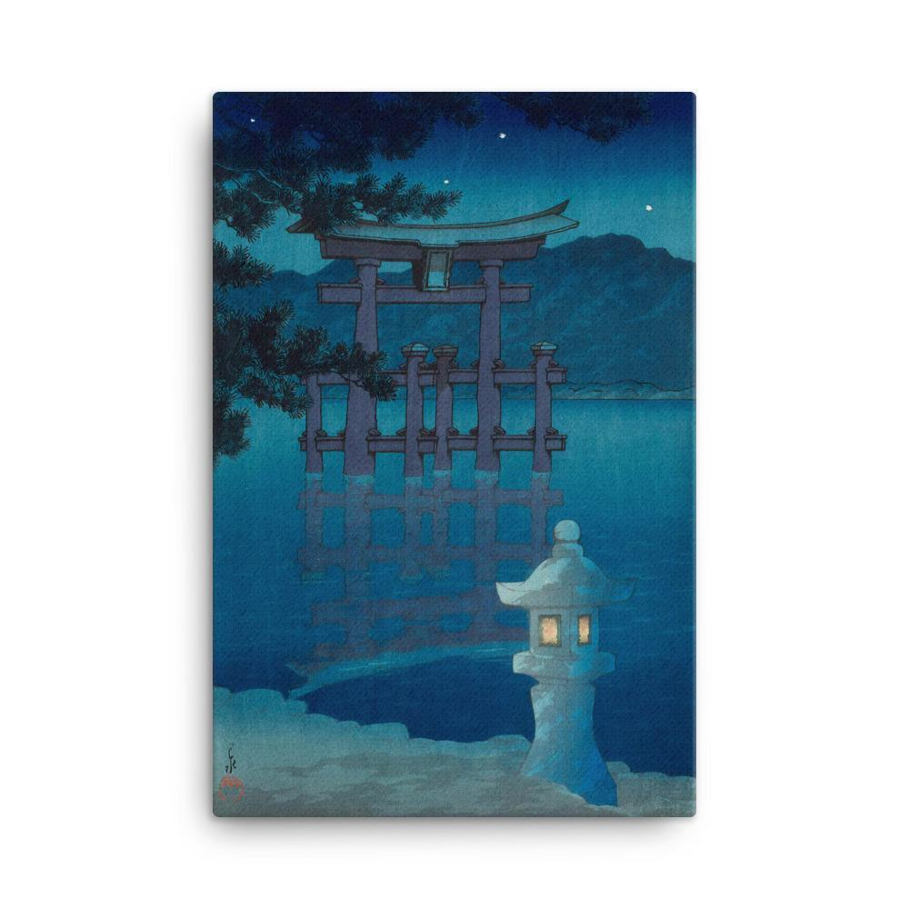 "Starry Night at Miyajima Shrine (1928)-Kawase Hasui-Wall Art-24""x36""-Canvas-Rising Sun Prints"
