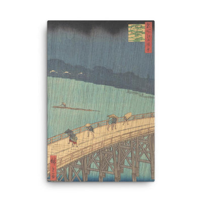 "Sudden Shower over Shin-Ōhashi Bridge and Atake (Ōhashi Atake no yūdachi), from the series One Hundred Famous Views of Edo (1857)-Hiroshige-12""x18""-Canvas Wrap-Rising Sun Prints"