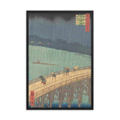 "Sudden Shower over Shin-Ōhashi Bridge and Atake (Ōhashi Atake no yūdachi), from the series One Hundred Famous Views of Edo (1857)-Hiroshige-12""x18""-Framed Giclée Print-Rising Sun Prints"