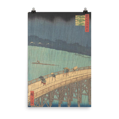 "Sudden Shower over Shin-Ōhashi Bridge and Atake (Ōhashi Atake no yūdachi), from the series One Hundred Famous Views of Edo (1857)-Hiroshige-12""x18""-Premium Giclée Print-Rising Sun Prints"