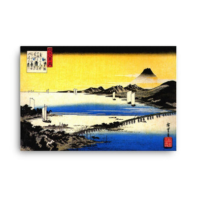 "Sunset Glow at Seta-Hiroshige-Wall Art-24""x36""-Canvas-Rising Sun Prints"