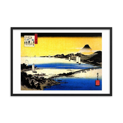 "Sunset Glow at Seta-Hiroshige-Wall Art-24""x36""-Framed Print-Rising Sun Prints"
