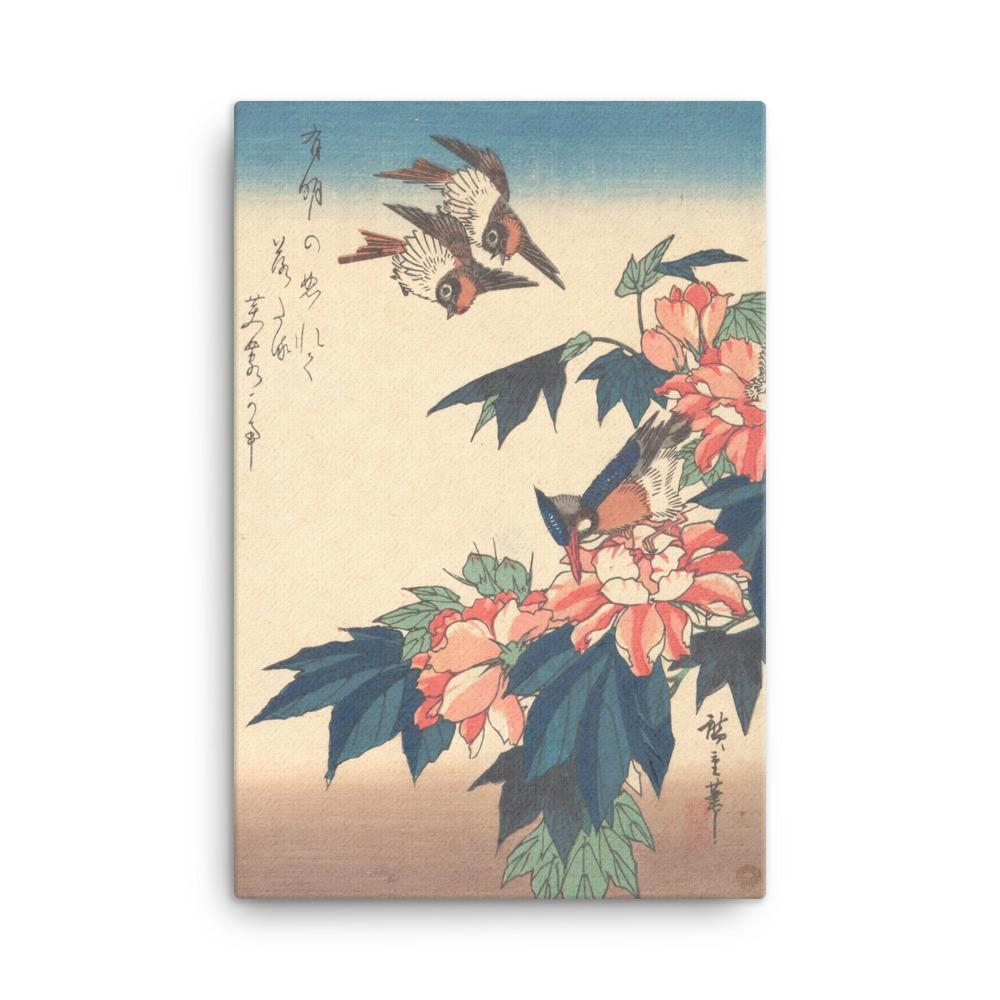 "Swallows and Kingfisher with Rose Mallows (1838)-Hiroshige-12""x18""-Canvas Wrap-Rising Sun Prints"