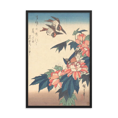 "Swallows and Kingfisher with Rose Mallows (1838)-Hiroshige-12""x18""-Framed Giclée Print-Rising Sun Prints"