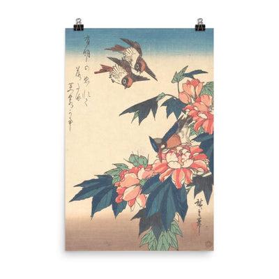 "Swallows and Kingfisher with Rose Mallows (1838)-Hiroshige-12""x18""-Premium Giclée Print-Rising Sun Prints"