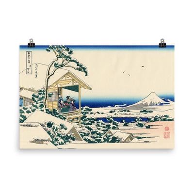 "Tea House At Koishikawa. The Morning After A Snowfall-Hokusai-Wall Art-24""x36""-Premium Giclee Print (No Margin)-Rising Sun Prints"
