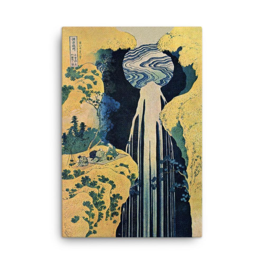 "The Amida Falls in the Far Reaches of the Kisokaidō Road-Hokusai-Wall Art-24""x36""-Canvas-Rising Sun Prints"