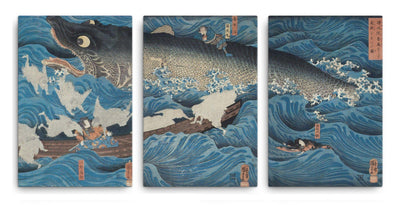 "The Former Emperor from Sanuki Sends His Retainers to Rescue Tametomo (1851)-Kuniyoshi-Wall Art-12""x18""-Canvas-Rising Sun Prints"