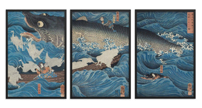 "The Former Emperor from Sanuki Sends His Retainers to Rescue Tametomo (1851)-Kuniyoshi-Wall Art-12""x18""-Framed Print-Rising Sun Prints"