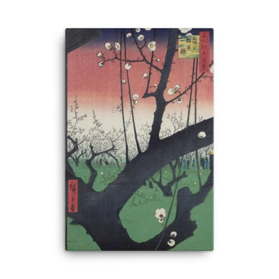 "The Plum Blossom Garden at Kameido (1857)-Hiroshige-12""x18""-Canvas Wrap-Rising Sun Prints"