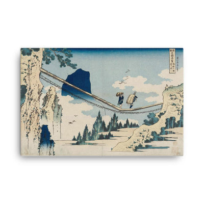 "The Suspension Bridge on the Border of Hida and Etchu Provinces (1834)-Hokusai-Wall Art-12""x18""-Canvas-Rising Sun Prints"