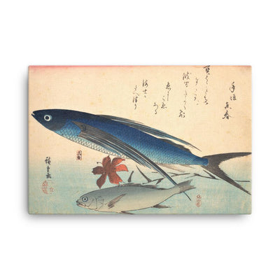 "Tobiuo and Ishimochi Fish, from the series ""Every Variety of Fish"" (1840's)-Hiroshige-12""x18""-Canvas Wrap-Rising Sun Prints"