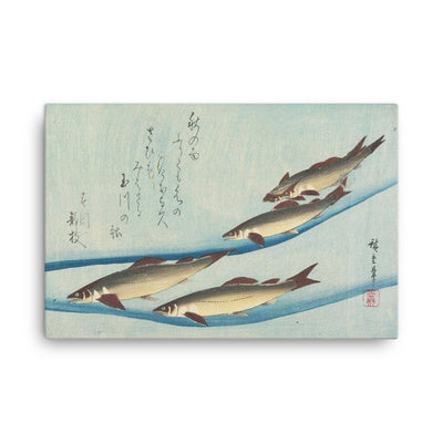 "Trout (1832-33)-Hiroshige-12""x18""-Canvas Wrap-Rising Sun Prints"