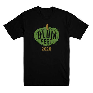 Blumfest 2020 Black T-Shirt with Green and Gold Pumpkin