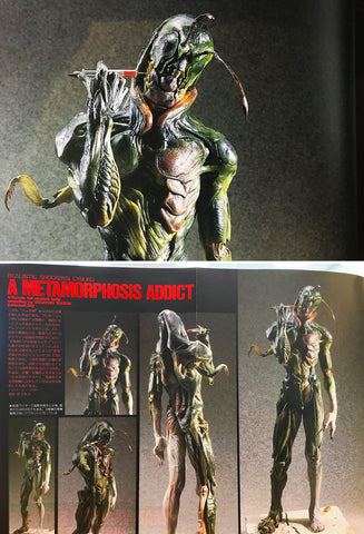 """Metamorphosis Addict"" by Takeya from Hobby Japan March, 1992. Grasshopper man who transforms repeatedly. ""Bad guys made me a cyborg. Fortunately I could escape, but I became addicted to transformation because of the excessive amounts of drugs they used on me. A couple of injections would not be enough to complete my transformation."""