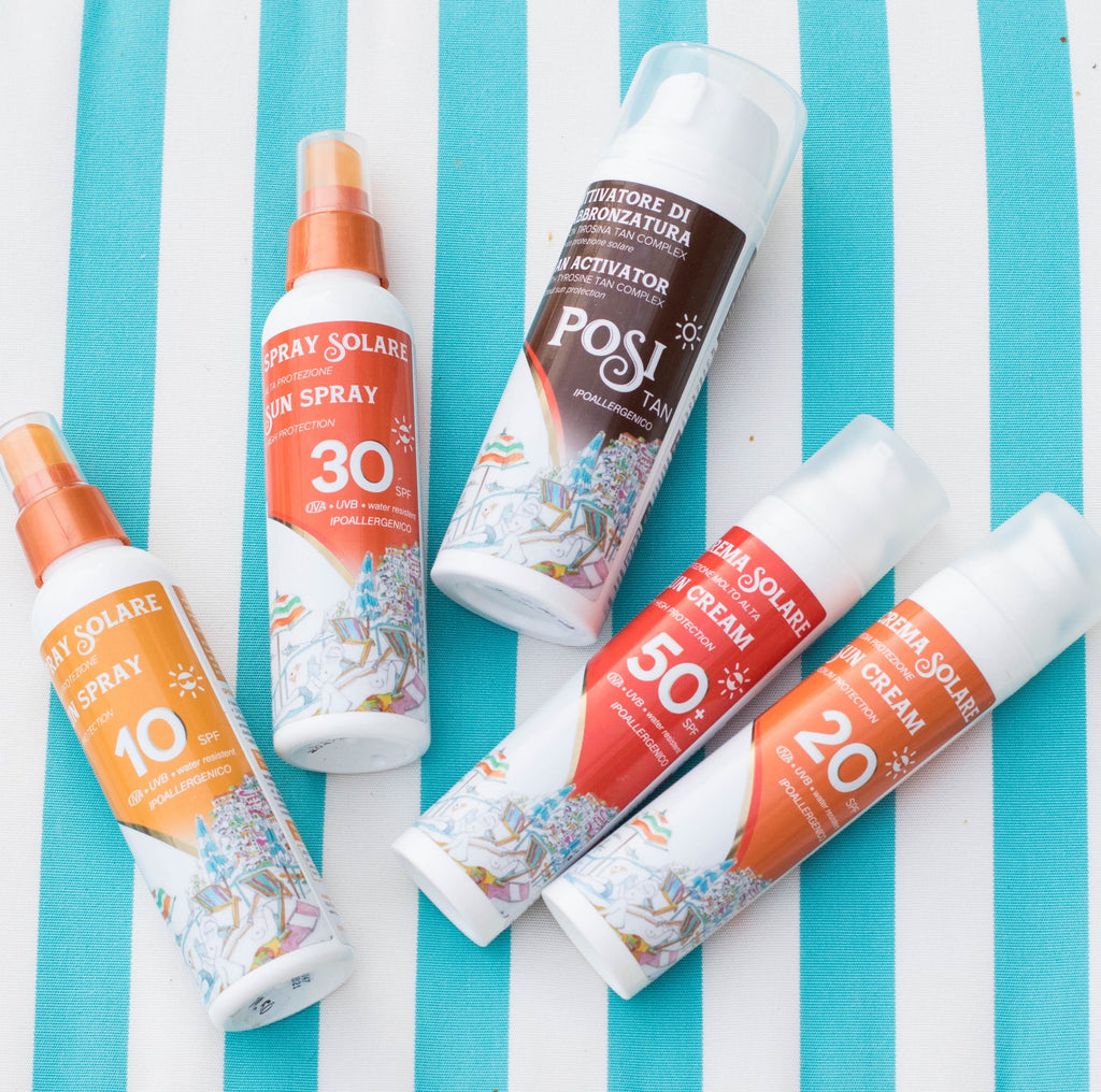 POSITANO ESSENTIAE SUNCARE. All you need to enjoy soaking in the summer sun, gazing at the infinite sea of Positano.