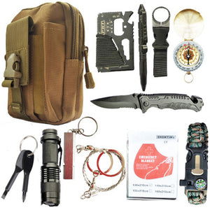12 in 1 Survival Spy Kit Set Outdoor Camping Travel Multifunction First Aid SOS EDC Emergency Supplies Tactical for Wilderness