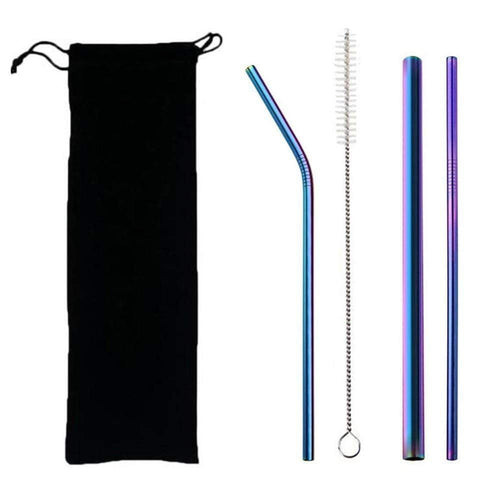 5 pcs Eco Friendly Reusable Straw 304 Stainless Steel Straw Set w Brush