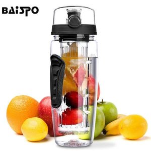 BAISPO 32oz 900ml BPA Free Fruit Infuser Juice Shaker Sports Pop-top Water Bottle