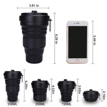 Load image into Gallery viewer, Collapsible Coffee Cup with Lid 550ml Leak Proof BPA Free Eco Reusable Travel Coffee Mug