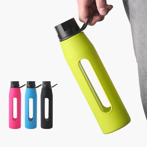 350ml / 570ml Sport & Fitness Glass Water Bottle w Twist Cap Soft Silicone Sleeve Carry Handle