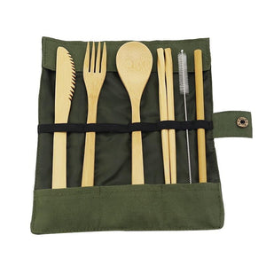 """Kick Plastic"" Kit - Reusable Bamboo Utensils Cutlery Set w Travel Pouch Flatware Straw & Chopsticks"