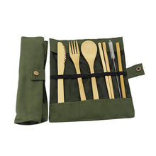 Load image into Gallery viewer, Reusable Bamboo Utensils Cutlery Set w Travel Pouch Flatware Straw & Chopsticks