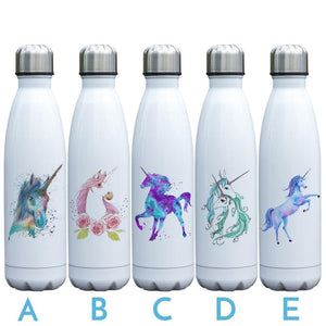 REALLY COOL UNICORN 17 oz Double Wall Vacuum Stainless Steel Soda-pop Style Water Bottle Insulated Leak-proof Twist-top Thermos