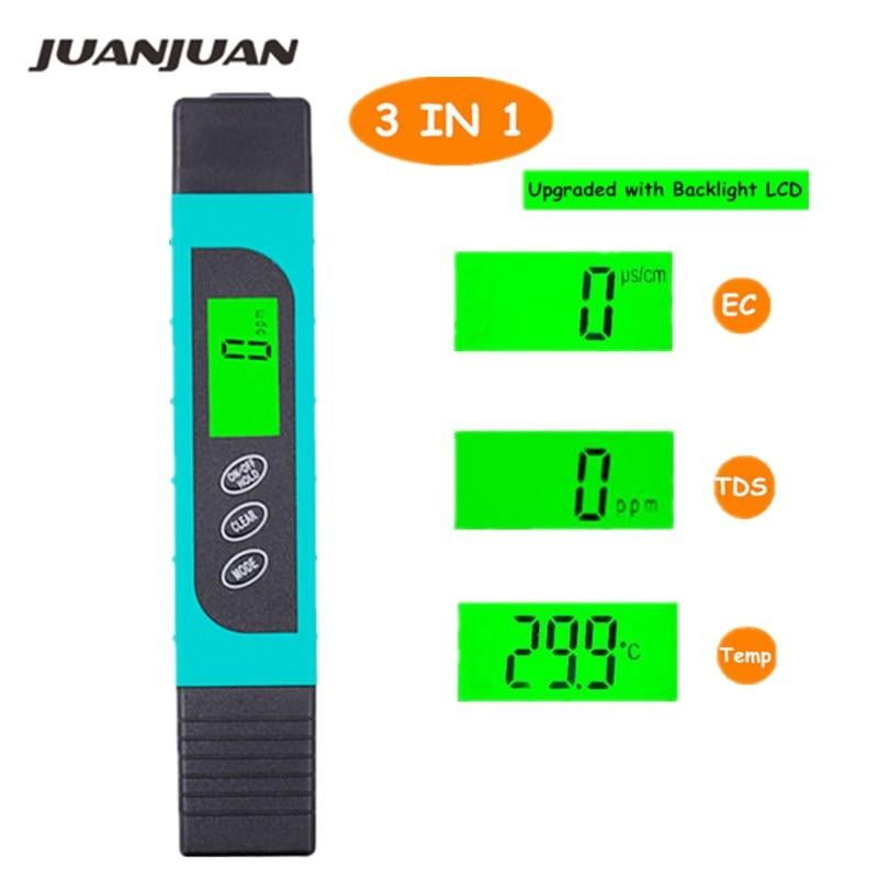TDS EC Meter Temperature Tester pen 3 in 1 Function Conductivity Water Quality Measurement Tool