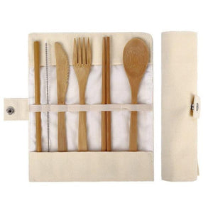 Reusable Bamboo Utensils Cutlery Set w Travel Pouch Flatware Straw & Chopsticks