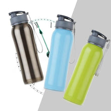 Load image into Gallery viewer, 800ml Single Wall 304 Stainless Steel Sports Outdoor Water Bottle with Bpa-Free Spring Lid w Portable Rope