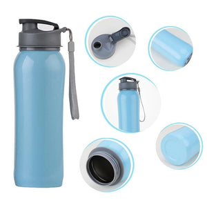 800ml Single Wall 304 Stainless Steel Sports Outdoor Water Bottle with Bpa-Free Spring Lid w Portable Rope