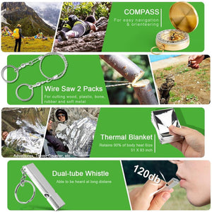 18 IN 1 Outdoor Survival Wilderness Multi-function Adventure Kit Tactical Camping Travel Defense Equipment First Aid SOS Set