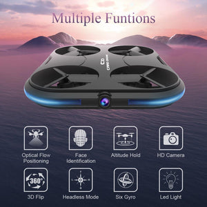 "SELFIE DRONE - ""Dronie"" - Optical Flow Follows Face Recognition Remote Control Drone Card Thinnest Selfie-Drone Camera RC Quadcopter"