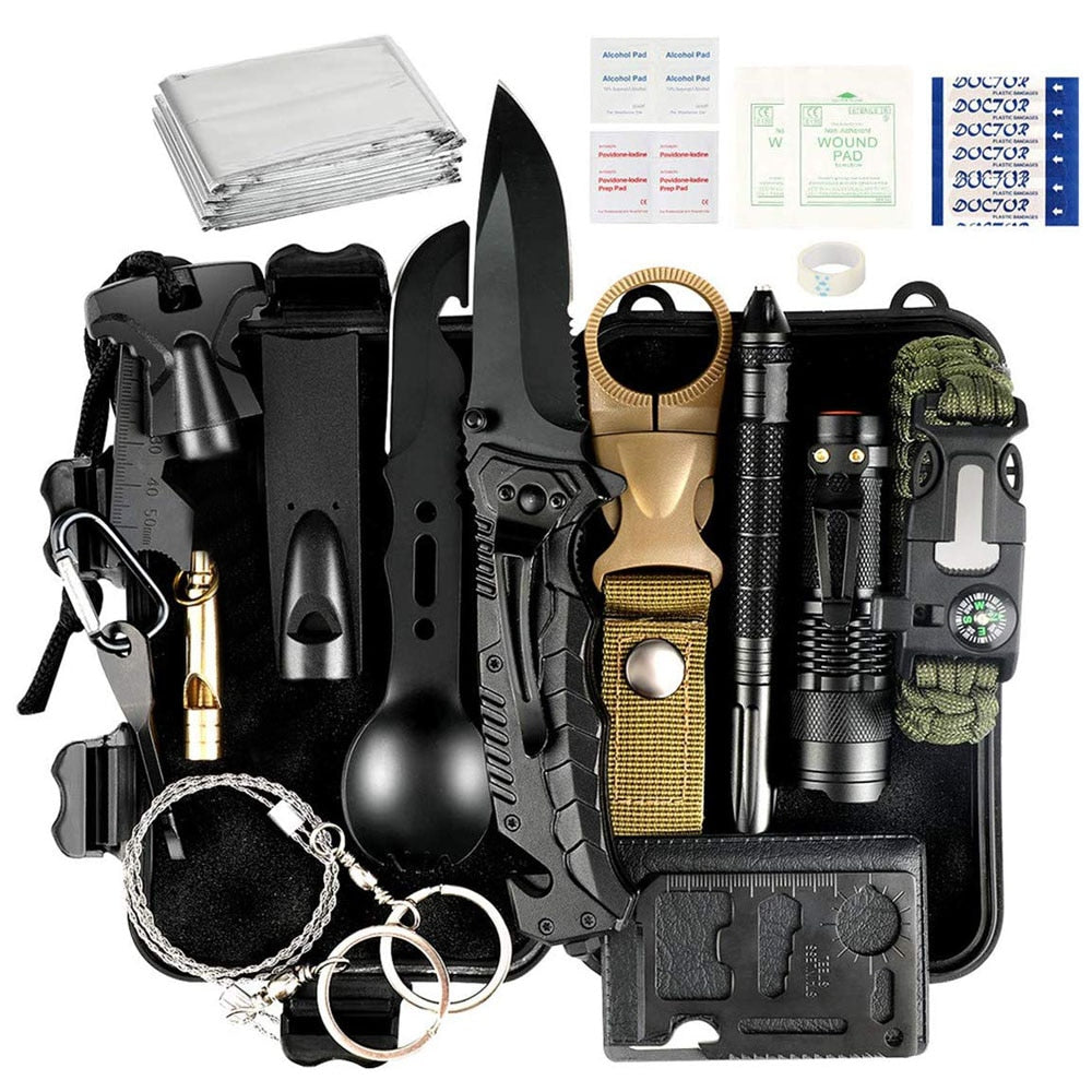 35 piece Survival Kit Outdoor Emergency Tactical Survival Gear for Cars Camping Hiking Hunting