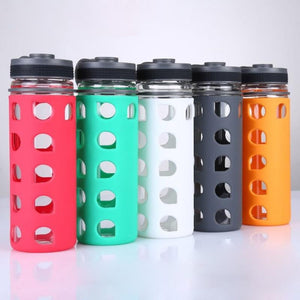 Glass Water Bottle with Silicone Outter Lattice