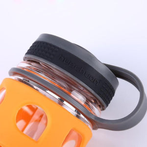 600ml / 20.3 fl oz - Water Bottle High Quality Kettle Glass - Silicone Rubber Outer-wall