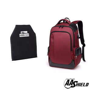 AA Shield - Bullet Proof School Safety Backpack Bag - RED - NIJ IIIA 3A Plate Panel Insert