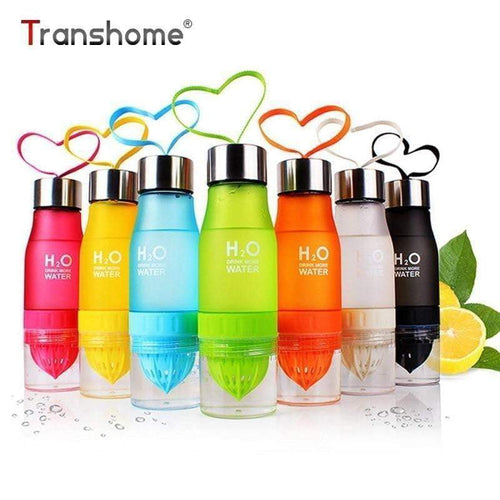 Transhome Creative Fruit Juice Infuser Water Bottle 650ml PBA-free Plastic